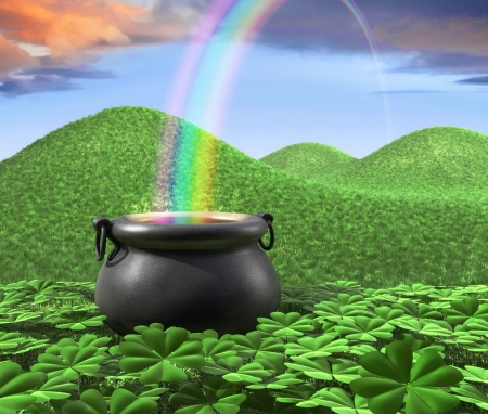 st  patricks' day: A pot at the end of the rainbow shown surounded by a lucky clover garden and roling hills of grass in the background.