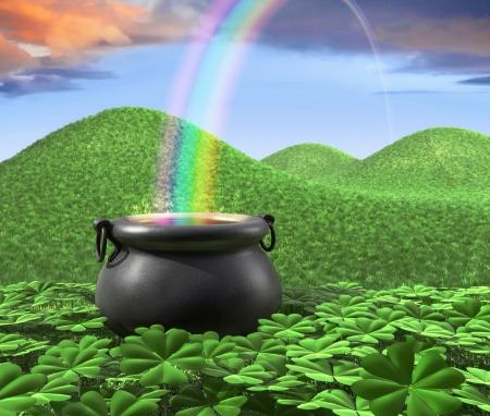 the end of a rainbow: Un bote al final del arco iris mostrado rodeado por un tr�bol de la suerte en colinas de jard�n y roling de hierba en segundo plano.  Foto de archivo