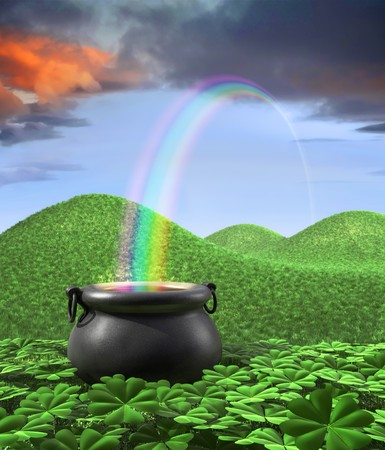 lucky: A pot at the end of the rainbow shown surounded by a lucky clover garden and roling hills of grass in the background. Tall Portrate layout with room for copyspace at the top.