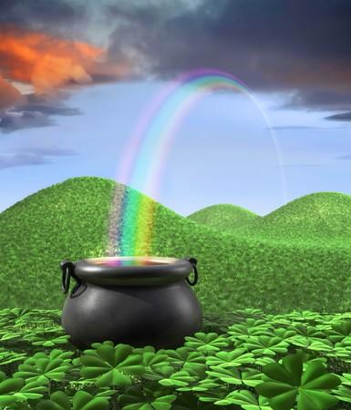 Am Ende des Regenbogens ein Topf angezeigt, umgeben von einem lucky Clover Garten und Roling Hügeln von Gras im Hintergrund. Tall Portrate-Layout mit Raum für Exemplar an der Spitze.