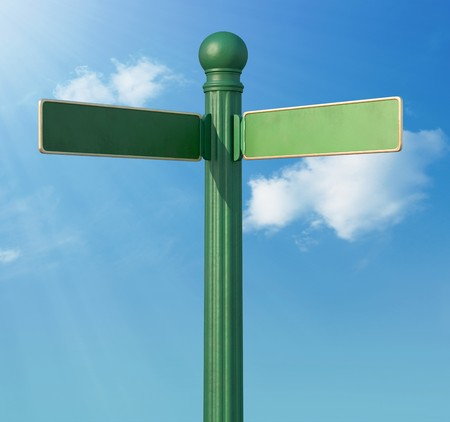 crossroad guide: A Blank old-Fashoned street sign for a fork in the road Stock Photo