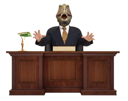 tyrant: A classic styled corporate desk with with a Tyrannosaurus Rex sitting behind it wearing a suit and tie on white background