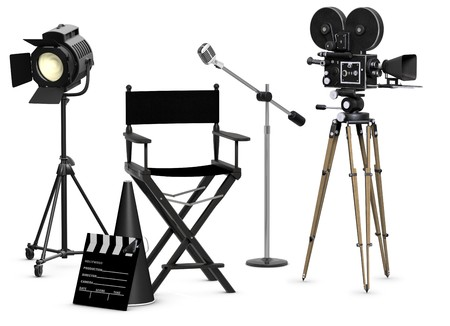 movie production: Empty movie set with vintage movie gear on a white background