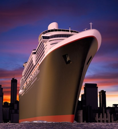 extreme angle: luxury cruise ship shot from extreme angle at water level during a radical sunset with choppy seas.