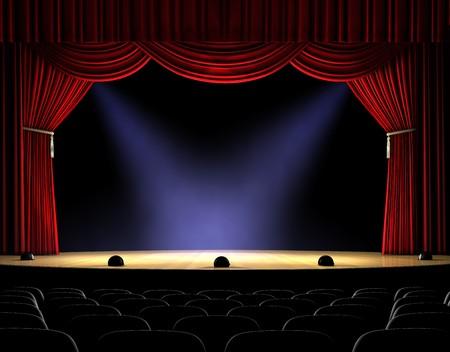 curtain theater: Escenario de teatro con la cortina Roja y focos en el piso de la etapa