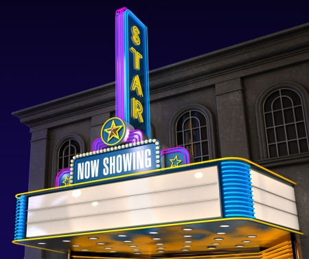 movie theatre: Exterior night shot of a retro illuminated neon movie theatre