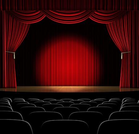 curtain theater: Etapa de teatro con cortina rojo y foco en el escenario Foto de archivo