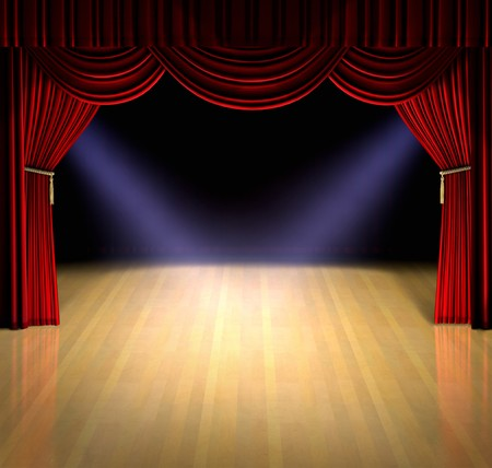 spotlight: Theatre stage with red curtain and spotlights on the stage floor