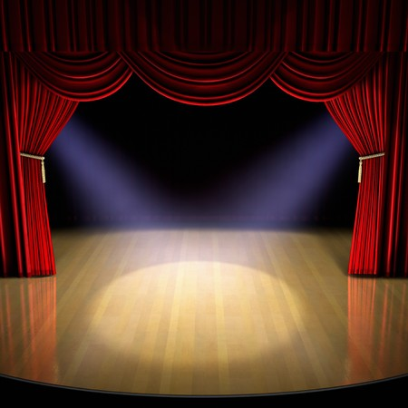 spotlight: Theatre stage with red curtain and spotlights on the stage floor.  Stock Photo