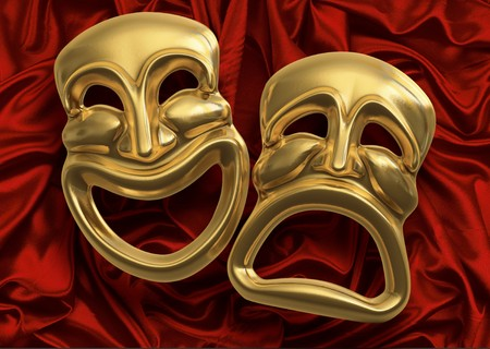 drama mask: Classic comedy-tragedy theater masks against red curtain fabric