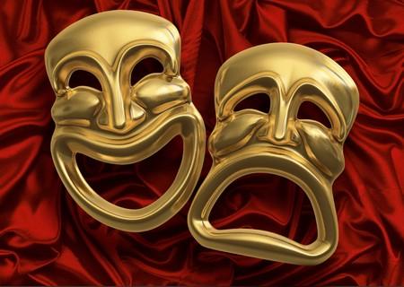 personality: M�scaras de teatro de comedia cl�sica-tragedia contra el tejido de cortina Roja