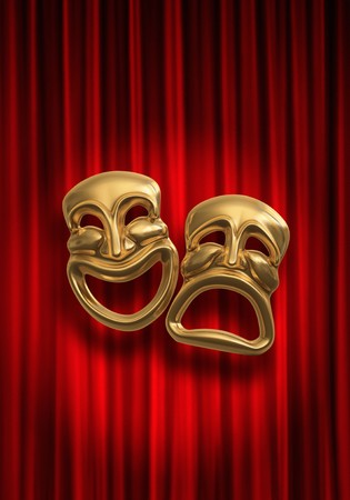 Classical comedy-tragedy theater masks against a red theatre curtain photo