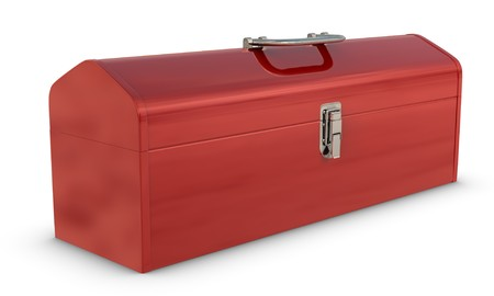 Classic red, metal toolbox on white photo