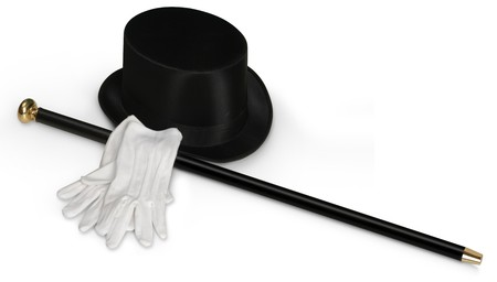 Top hat, witte hand schoenen en zwart suikerriet op wit wordt geïsoleerd