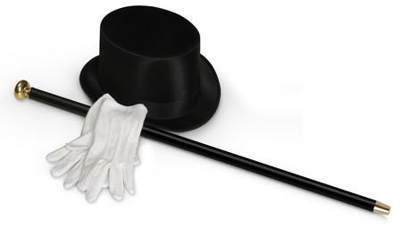 Top hat, witte hand schoenen en zwart suikerriet op wit wordt geïsoleerd  Stockfoto - 7050379