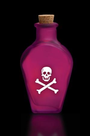 veneno frasco: Botella de veneno con cr�neo y tibias cruzadas en la parte frontal