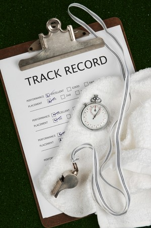 credibility: track record on clip board with stop watch, whistle and towel