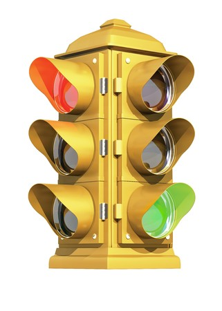 proceed: A vintage American traffic light on white background showing Red & Green signals.