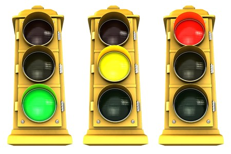 Three vintage downtown traffic light on white background showing Green, Yellow & Red. Banco de Imagens