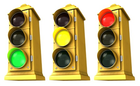 proceed: Three vintage downtown traffic light on white background showing Green, Yellow & Red. Stock Photo