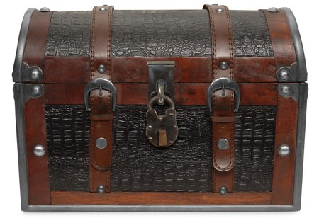 Front view of a treasure chest on a white background