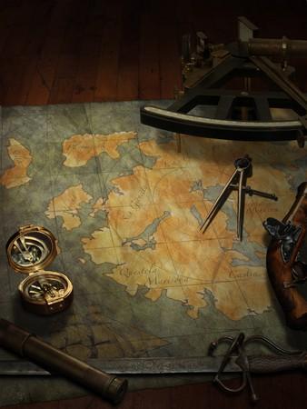 treasure map with nautical and pirate paraphernalia Stock Photo