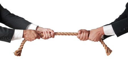 office politics: tug of war between businessmen