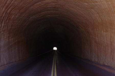 最後の光と長いトンネル 写真素材