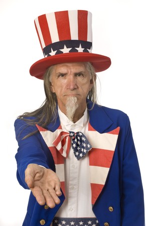 Uncle Sam on a white background with his palm outstretched Stock Photo