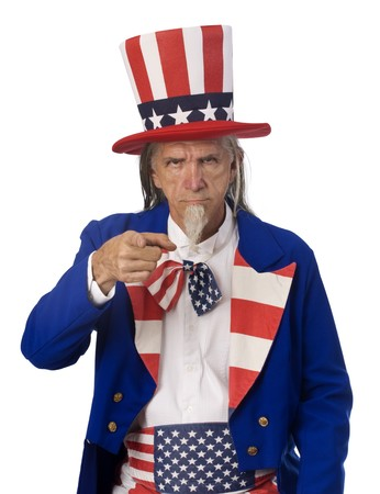 medium shot: Classic Uncle Sam poster pose on a white background with Uncle Sam pointing his finger at the cmaera