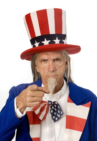 Uncle Sam pointing at the camera in the classic poster pose Stock Photo