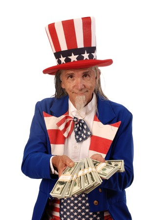 Uncle Sam on a white background offering stacks of bills Stock Photo - 9519804