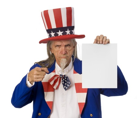 Uncle Sam holding a blank sign while pointing at the camera