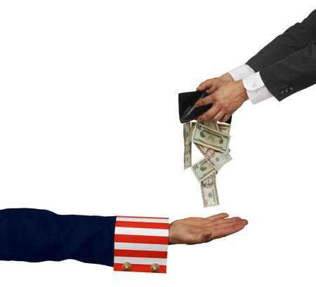 Uncle Sam's arm with palm up on white background Stock Photo - 7051372