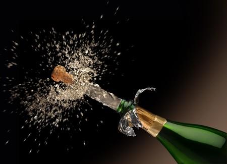 スプラッシュたっぷりシャンペーン ボトルからクォーク poping !