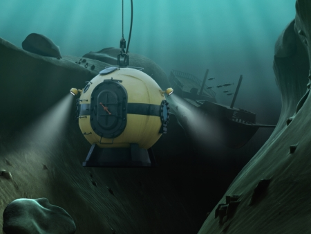 deep sea: Diving bell descending into an underwater abyss