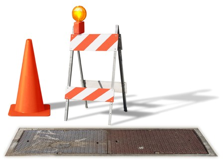 pitfall: construction cone & barrier on white