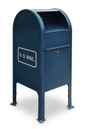 mail us: blue US mailbox on white background