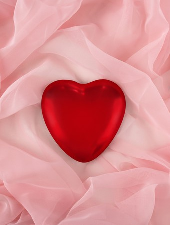 marrage: Red Valentines Day heart on chiffon background