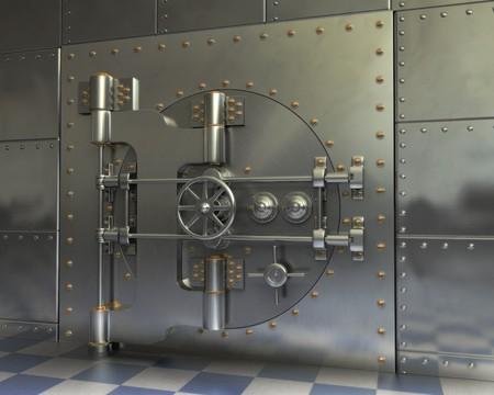 money vault: Opened Antique iron safe isolated on white background