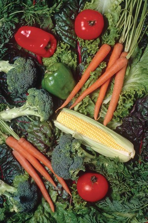 red peppers, broccoli, carrots, leafy greens Stock Photo - 7059269