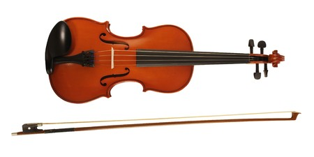A violin and bow on white Stock Photo