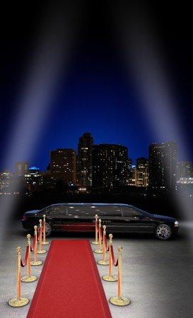 searchlights: limousine parked in front of a red carpet with a city skyline in the background and searchlight beams coming in from the side