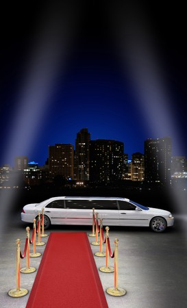limousine parked in front of a red carpet with a city skyline in the background and searchlight beams coming in from the side