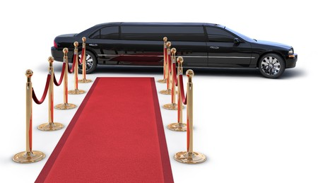 A Limousine Pulling up to a red carpet runway on white