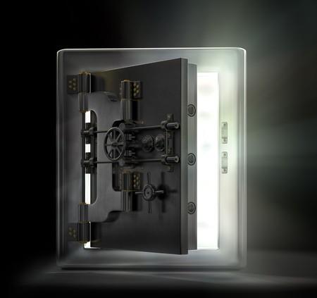 Antique iron safe isolated on white background photo