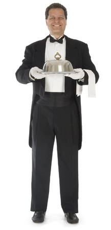 Waiter standing full front view on white background photo