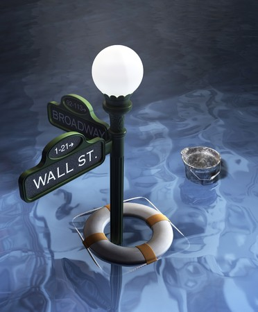 Wall street and Broadway Street sign underwater showing lifesaver and bucket Stock Photo - 7060276