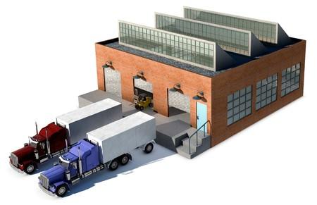 Een kleine fabriek met een vrachtwagen lading bij een laad-dock geïsoleerd op wit