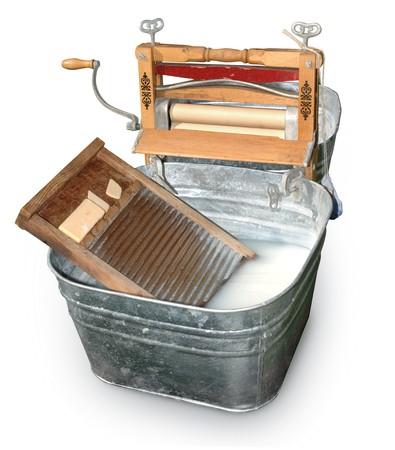 washboard: Antique wash tub isolated on white